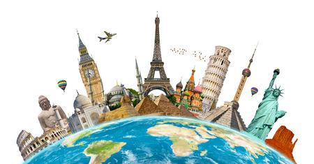 viagem: Monumentos famosos do mundo agrupados no planeta Terra Banco de Imagens