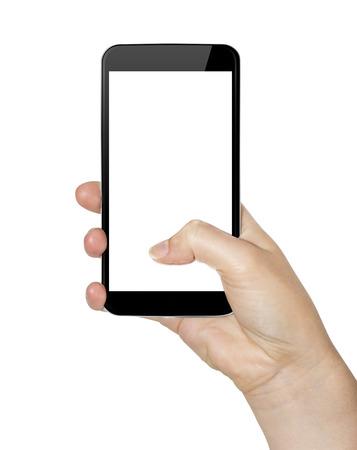 彼女の手で現代の携帯電話を保持している女性