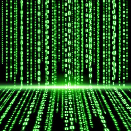 Green lines representing a digital binary code Stock Photo