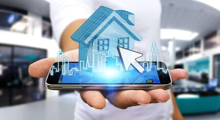 mortgage: Businessman using mobile phone with digital house and city