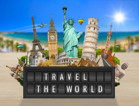 Famous monuments of the world grouped together on a airport billboard panel Stock Photo