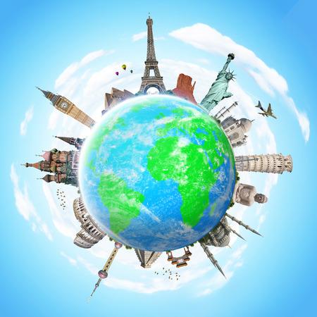 Berühmte Sehenswürdigkeiten der Welt zusammen auf dem Planeten Erde gruppierte