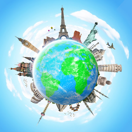 earth globe: Famous monuments of the world grouped together on the planet Earth