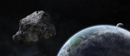 cataclysm: Asteroids flying close to the planet Earth
