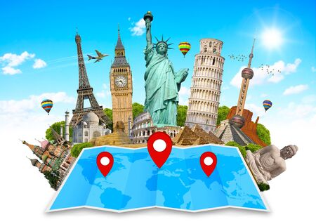 monuments: Famous monuments of the world grouped together on a map with pin icon