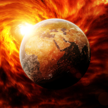ozone layer: Red black hole sucking up the planet Earth Stock Photo