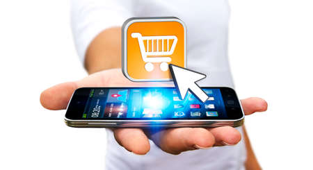 web application: Businessman with modern mobile phone using shopping application Stock Photo