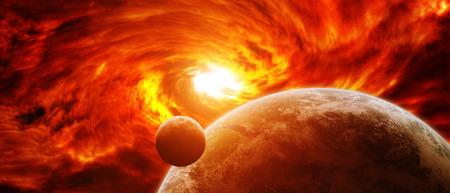 Trou noir rouge sucer jusqu'à la planète Terre Banque d'images - 46729766