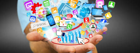 application icons: Young man holding application icons interface in his hand