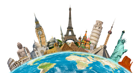 grouped: Famous monuments of the world grouped together on planet Earth