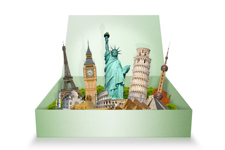 grouped: Famous monuments of the world grouped together in a box Stock Photo