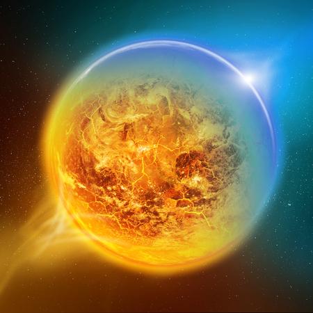 Effet du réchauffement climatique sur la vue planète Terre depuis l'espace Banque d'images - 46735810
