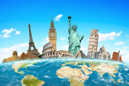 Famous monuments of the world grouped together on planet Earth