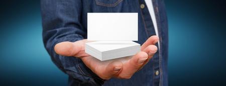personalausweis: Geschäftsmann hält weiße Visitenkarte in der Hand Lizenzfreie Bilder