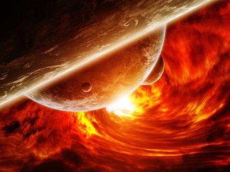 Trou noir rouge sucer jusqu'à la planète Terre Banque d'images - 47440079