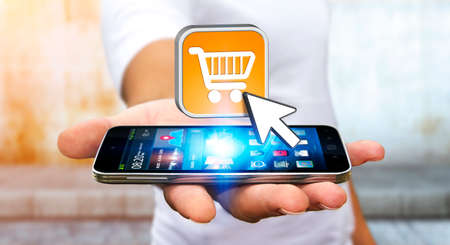 business credit application: Businessman with modern mobile phone using shopping application Stock Photo