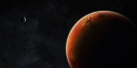 armageddon: View of the planet Mars from space during a sunrise
