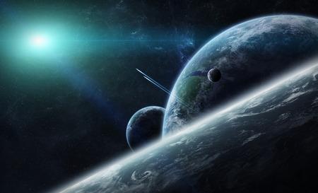 Uitzicht op de planeet Aarde vanuit de ruimte tijdens een zonsopgang Stockfoto