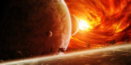 Trou noir rouge sucer jusqu'à la planète Terre Banque d'images - 48099934