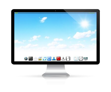 blank computer screen: Modern digital black and silver computer on white background