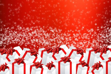 xmas background: Multiple gifts on colorful background Xmas illustration