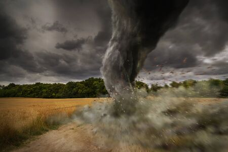 windstorm: View of a large tornado destroying the landscape