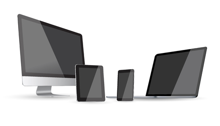 device: Modern digital tech device on white background