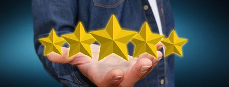 ranking: Young businessman ranking using digital stars Stock Photo