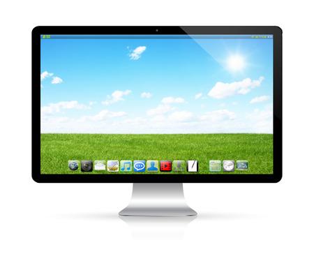 ordinateur bureau: Moderne ordinateur noir et argent numérique sur fond blanc