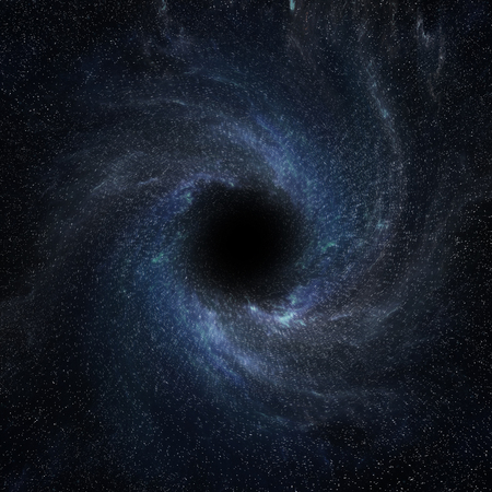 View of a black hole in space