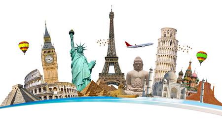 Monumentos famosos del mundo agrupados Foto de archivo - 49072641