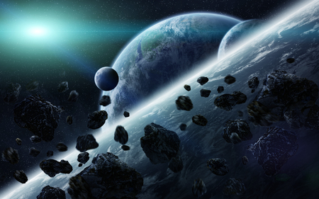 meteorite: View of planets from space during meteorite impact
