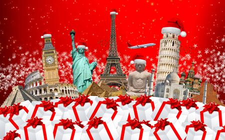 bonne aventure: Monuments célèbres du monde regroupés célébrer Noël