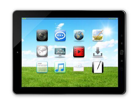 telecommunications equipment: Modern digital black tablet on white background