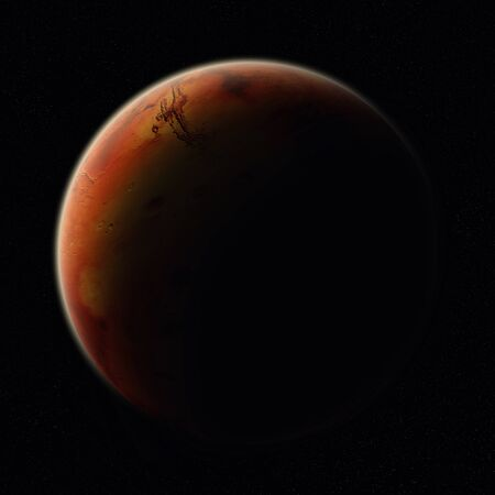 conquest: View of the planet Mars from space during a sunrise