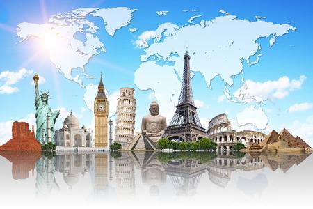 Monumenti famosi del mondo illustrano la viaggi e vacanze