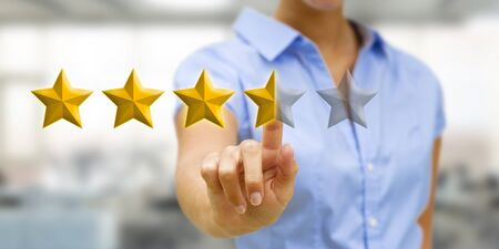 ranking: Young businesswoman ranking using digital stars