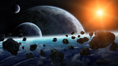 View of planets from space during meteorite impact