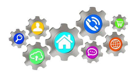 cogwheel: Colorful cogwheel icons illustration on white background