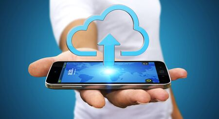 server technology: Businessman with modern mobile phone uploading image in his cloud