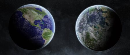 earth from space: View of the planet Earth from space close to an ex planet