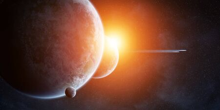 armageddon: View of planets in space during a sunrise