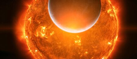 inhabited: Sun exploding close to inhabited planet Earth Stock Photo