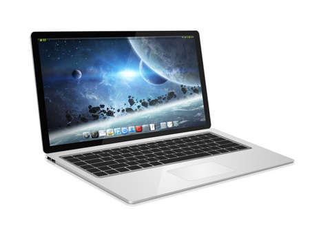 tactile: Modern digital black and silver laptop on white background