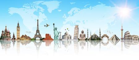 Monumentos famosos del mundo que ilustran los viajes y vacaciones