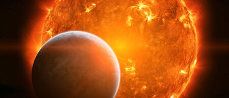 expansion: Sun exploding close to inhabited planet Earth Stock Photo