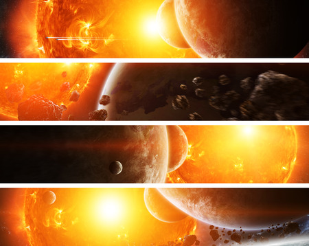 Sun exploding close to inhabited planets system Stock Photo