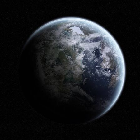View of the planet Earth from space during a sunrise Banco de Imagens