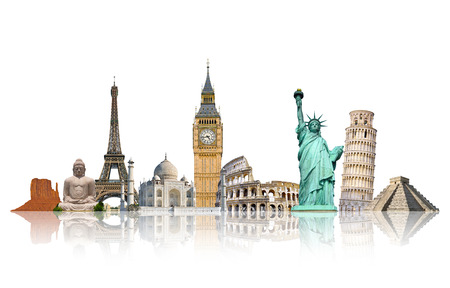 monumentos famosos del mundo agrupados juntos en el fondo blanco Foto de archivo