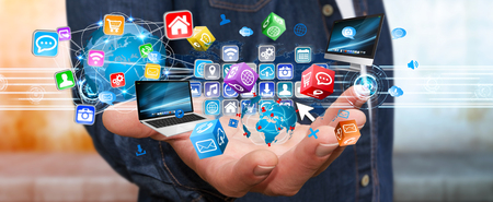 smart investing: Businessman connecting tech devices and cyberspace applications Stock Photo